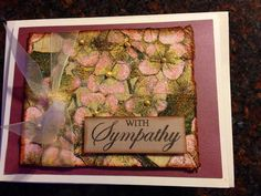 Handmade card/sympathy/flowers/made with napkin