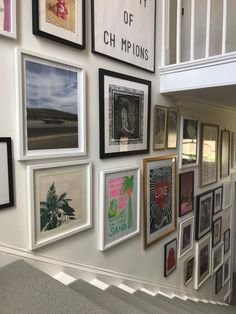 My staircase gallery wall. Staircase Wall Decor, Stair Art, Hallway Art, Stair Walls, Room Wall Decor, Stairway Gallery Wall, Stair Gallery, Gallery Wall Layout, Gallery Walls