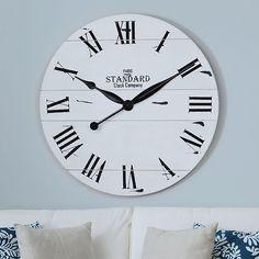 Jacob White Wood Plank Clock | Kirklands