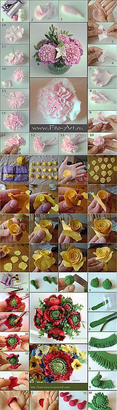 Обучение лепке цветов   Самоделкино
