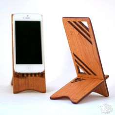 Geometric Wood iPhone Stand by ideasinwood on Etsy, $25.00