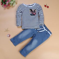 New Navy long-sleeved pullover striped clothes Kids Clothes Girls long sleeve children clothing