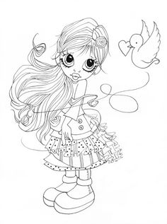 free digital stamp I love this Saturated Canary image Coloring Pages For Girls, Colouring Pics, Coloring Book Pages, Coloring For Kids, Free Coloring, Creation Art, Copics, Digital Stamps, Big Eyes