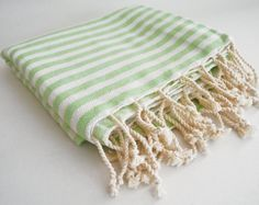 Turkish Original: Premium Handmade Turkish Pestemal 100% Cotton Bath Beach Towel X-Large Green Stripe. Ships from Denver