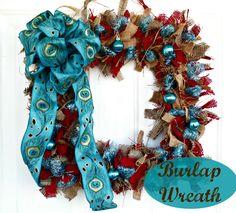 Rustic Burlap Wreath from @Katydid Country #fabulouslyfestive