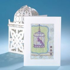 Elegant birdcage cards – free cross stitch project with 4 beautiful designs to make.