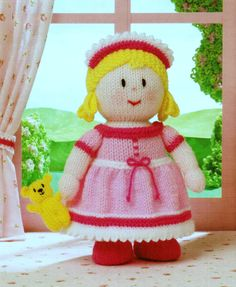 """From Jean Greenhowe's 'Dolly Mixtures' collection comes Princess Penelope and Snuggles. They are very sweet. They are knitted with DK wool, are easy to make and Penelope is 21cm/8.25"""" tall. Designed and published by Jean Greenhowe Designs in 2009."""