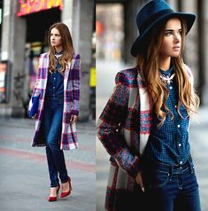 """""""Bombay Bicycle Club - Carry Me/maffashion"""" by Juliett K., from Poland. -- Love the long plaid coat"""