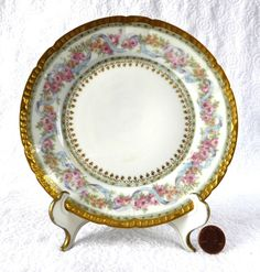 Gorgeous Haviland Limoges Side Plate Ornate Floral Gold Roses Antique – Antiques And Teacups