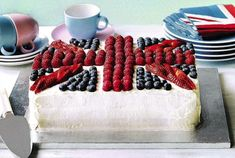 Gorgeous, simple union jack cake. The basic idea and recipe could work for a rainbow cake.