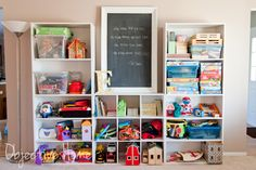 I think the mixture of cubbies and shelves is good. Board games need long shelves. Playroom Shelves, Playroom Organization, Bookshelves, Playroom Ideas, Bedroom Shelving, Daycare Ideas, Cubbies, Storage Shelves, Organization Ideas