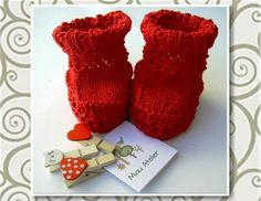 Miau Atelier: Workshop: Botinha vermelha em tricô para bebê