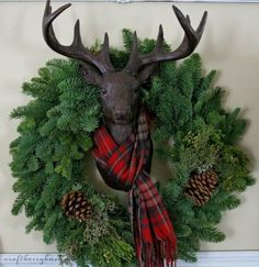 I would NEVER have a stuffed animal/anything in my home, but I do like this fake deer head. also perfect for a Christmas wreath! Craftberry Bush: A Farmhouse Christmas - Christmas Hutch and 8 Styling Tips Tartan Christmas, Plaid Christmas, Christmas Is Coming, Country Christmas, All Things Christmas, Winter Christmas, Christmas Wreaths, Woodland Christmas, Magical Christmas
