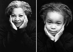 """Photographer Marc Bushelle, who's also the proud father of his subject, Lily, created this photo series, called """"The Heroines Project,"""" because he both wanted to spend quality family time with his wife and daughter and teach his daughter about strong heroines in history.  Here's Lily looking smart as Nobel Prize winner Toni Morrison."""