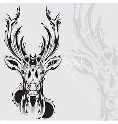 Tribal deer head tattoo vector - by BlackSpring on VectorStock®