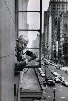 """Henri Cartier-Bresson photographed by René Burri, 1959. """"To photograph is to hold one's breath, when all faculties converge to capture fleeting reality. It's at that precise moment that mastering an image becomes a great physical and intellectual joy."""" - Henri Cartier-Bresson. S)"""