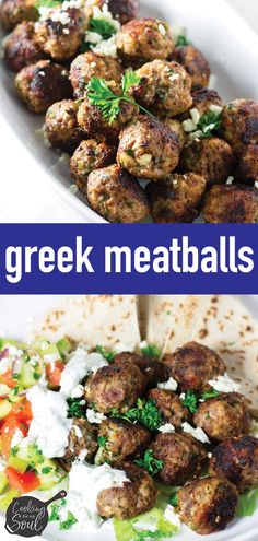 Greek Meatballs Recipe - Cooking For My Soul Delicious Greek Meatballs! These Greek Meatballs are the perfect appetizer or main dish. Serve it in gyros or with some pita bread and a simple Mediterranean salad # Meatball Recipes, Meat Recipes, Cooking Recipes, Healthy Recipes, Simple Meatball Recipe, Crockpot Recipes, Mediterranean Diet Recipes, Mediterranean Dishes, Mediterranean Appetizers