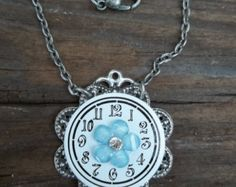 Sweet Dainty White Enamel Watch Face Necklace on Antiqued Silver Filigree with Baby Blue Flower with Rhinestone