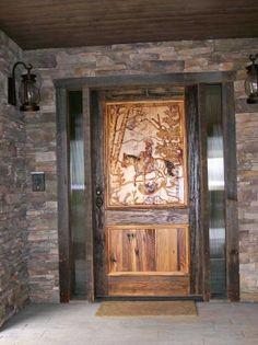 Hand Carved Wood Door.