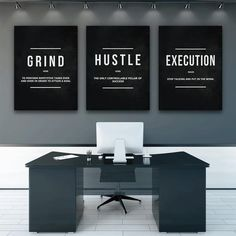 Buy Grind Hustle Execution Wall Art Canvas Prints Office Decor Motivational Modern Art Entrepreneur Motivation Painting Pictures at Wish - Shopping Made Fun Home Office, Tiny Office, Office Wall Art, Office Walls, Office Canvas Art, Blue Office Decor, Business Office Decor, Shared Office, Modern Decor