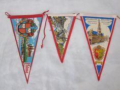 Vintage Pennants Souvenir Pennants Colorful Pennants Vacation Souvenir Wall Pennants Wall Decor Pennant Set Red and Blue Travel Pennants J25