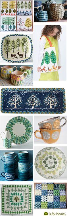 Mosaic of Katrin Moye designs   H is for Home #ceramics #pottery #slipware
