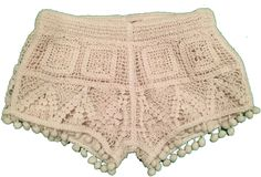 Cotton Lining: Polyester Macine wash cold, do not bleach, do not tumble dry, warm iron if needed Bohemian Girls, Hippie Boho, Bohemian Fashion, Luxury Fashion, Crochet Coat, Crochet Lace, Crochet Shorts, Lace Shorts, Pom Pom Shorts