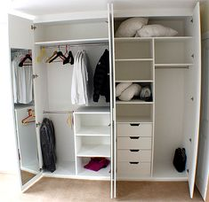 Fitted wardrobes examples in London, wardrobe interior design pictures, check our alcove units and bookshelves with cupboards and floating shelves Alcove Wardrobe, Wardrobe Shelving, Bedroom Built In Wardrobe, Wardrobe Wall, Wardrobe Dresser, Wardrobe Cabinets, Cupboard Wardrobe, Fitted Wardrobe Interiors, Wardrobe Interior Design