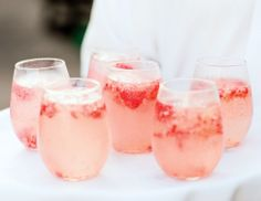 Refreshing Pink Cocktails with Strawberries