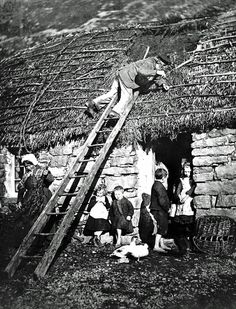 Repairing a thatched roof, Poolewe, 1890.