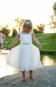 Claire Flower Girl Dress  Ivory Lace Flower by OliviaJaneCouture