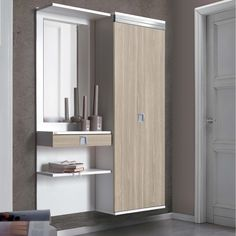 Cambridge hanging hallway furniture with sliding door cabinet equipped with clothes hanger and shoe shelves, mirror drawer and shelves. Decoration Hall, Entrance Hall Decor, Hallway Furniture, Diy Furniture, Hallway Storage, Tall Cabinet Storage, Bed Design, House Design, Mirror Drawers