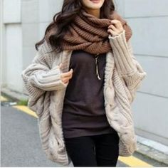 Beige Plain Cable Print Dolman Sleeve Cardigan Sweater Love the outfit, maybe not an oversized sweater tho Look Fashion, Street Fashion, Womens Fashion, Fall Fashion, Korean Fashion, Tokyo Fashion, Vogue Fashion, Fashion News, Fall Winter Outfits