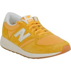 New Balance 420 Re-Engineered Women's Athletic Sneaker ($85) ❤ liked on Polyvore featuring shoes, sneakers, yellow, mesh trainers, new balance footwear, rubber sole shoes, new balance shoes and new balance