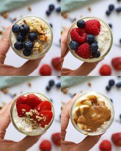 Oats Recipes, Snack Recipes, Cooking Recipes, Dessert Recipes, Overnight Oats Receita, Healthy Smoothies, Smoothie Recipes, Smoothie Bowl, Fast Healthy Breakfast