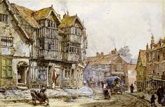 Old Houses, Shrewsbury, England, by Louise Rayner, British watercolor artist. 1832 - 1924