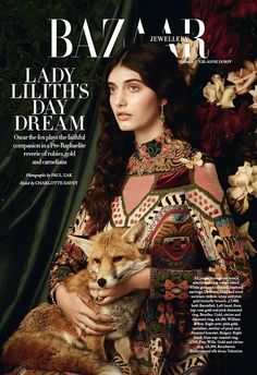 Rising star Emily Reda channels pre-Raphaelite paintings for the January 2018 issue of Harper's Bazaar UK. Lensed by Paul Zak, the brunette stunner poses i