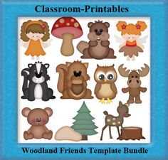 Clipart Templates for Scrapbooking.    Woodland Friends Clipart Template Bundle. For Digital Scrapbooking, Clipart, Creating Cards & Printables.    Comes PSD Format  For Use in Photoshop and Graphics Programs