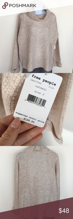 AUTHENTIC - Free People sweater Oatmeal colored wool sweater.  New with tags. Smoke & pet free home Free People Sweaters