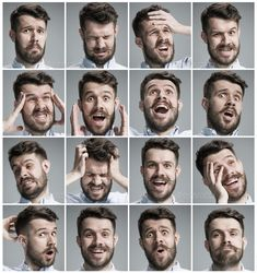 Buy Set of young man's portraits with different emotions by on PhotoDune. Set of young man's portraits with different emotions on gray background Human Poses Reference, Pose Reference Photo, Figure Reference, Life Drawing, Figure Drawing, Facial Expressions Drawing, Emotion Faces, Expressions Photography, Different Emotions