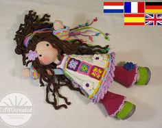 Crochet pattern for doll YUNA, pdf (Deutsch, English, Nederlands, Español, Français)