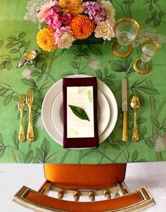 use a favorite wallpaper to cover rectangle or square tables vs. linen to bring in color, pattern + style #wedding