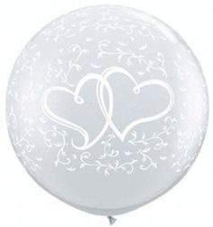 B123-55256 - 3' Entwined Hrts-A-Round - Clear Latex Balloon (2CT)