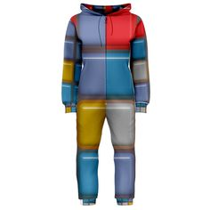 Shiny Squares pattern Hooded OnePiece Jumpsuit