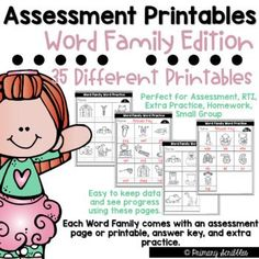If you are like me, you need a way to assess your students or provide extra practice covering the skill of short vowel word families. I created this product to be able to assess my students quickly. I keep a data sheet on how they do each time I assess them with the same form.•This packet contains 35 different combinations of word family assessments or printables along with answer keys. In total this product contains 72 pages Daily 5 Activities, Sight Word Activities, Back To School Activities, Reading Skills, Guided Reading, Teaching Reading, Teaching Sight Words, Dolch Sight Words, Literacy Stations