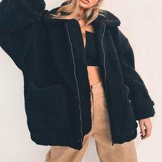 2018 Elegant Faux Fur Coat Women Autumn Winter Warm Soft Zipper Fur Jacket Coat Female Plush Overcoat Casual Outerwear Plus Size Blouson Teddy, Plus Size Coats, Winter Tops, Casual Winter, Oversized Jacket, Winter Outfits, Winter Clothes, Casual Clothes, Sweater