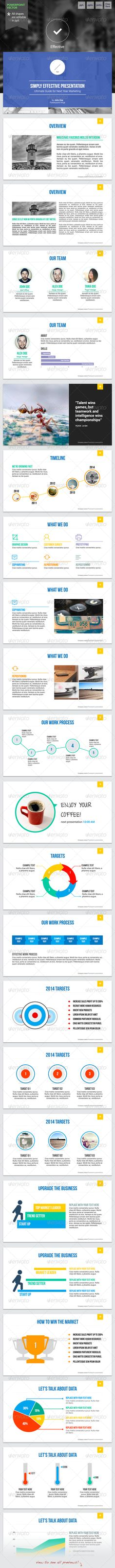 Effective 2 - Powerpoint Template  #GraphicRiver              Impress your audience with clean, modern, and professional presentation!.   This product designed to shape your ideas into effective visual comunication. All objects are editable in powerpoint, no need another additional software to change color, size, etc. Photos are replaced with placeholder   Features:   Fully editable in powerpoint  Available in 3 flavors!: White, light grey, and textured grey.  Easy drag and drop to