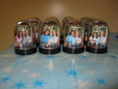 Ice Skating Party Favors...We took pictures as the guests arrived and my husband went to CVS and had them printed while the guests skated.  The girls took home a snowglobe as a favor.