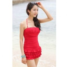 $13.31 Hot Sale Solid Color Tiered Skirt   Halter Neck Design One-Piece Swimsuit For Female