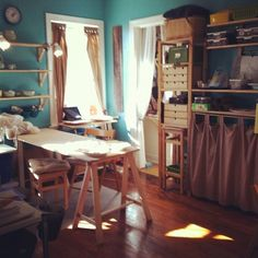 love the turquoise color, but with white bookcases